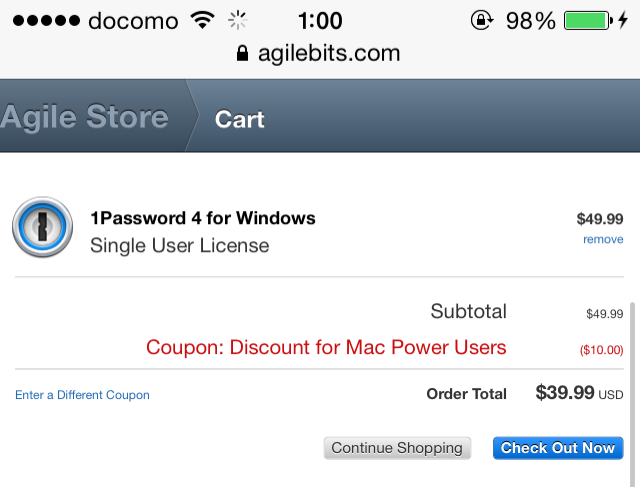 1password coupons discounts